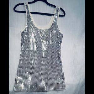 Silver Circular Sequin White Tank Large By Express